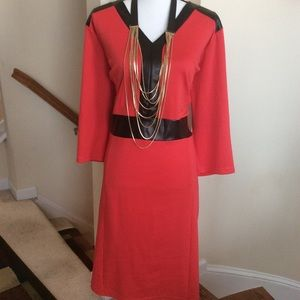 Ashley Stewart Red w/Faux Leather Black Trim Dress